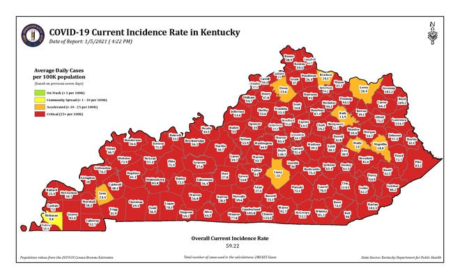 The COVID-19 current incidence rate map for Kentucky as of Tuesday, Dec. 5.