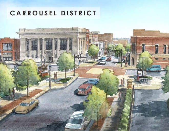 """A rendering of Fourth and Main Streets included in the """"Main Street Corridor Plan."""""""