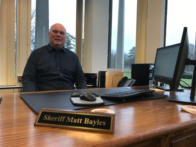 Marion County Sheriff Matt Bayles sits at his new desk at the Marion County Sheriff's Office on Jan. 5, 2021.
