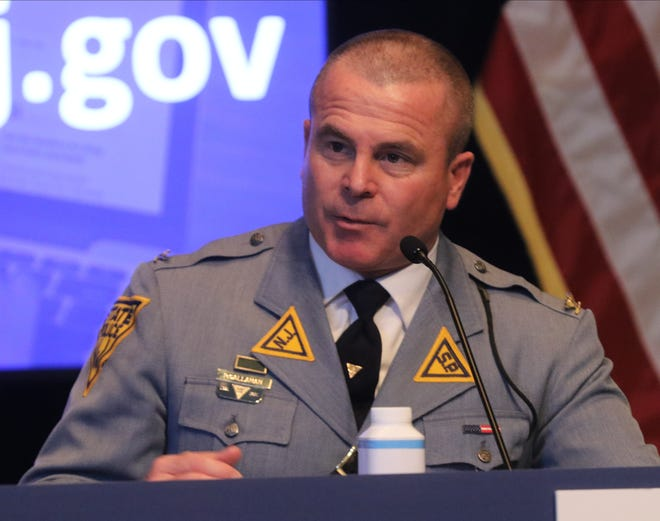 New Jersey State Police Superintendent Pat Callahan takes questions during a recent press briefing.