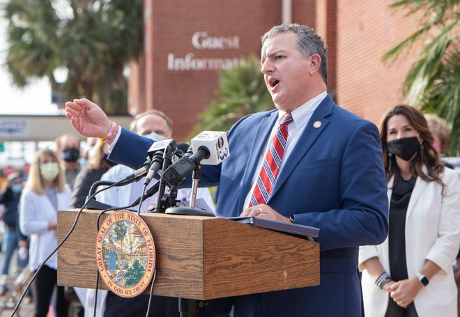 Chief financial officer of Florida Jimmy Patronis speaks during a press conference at Olive Baptist Church in Pensacola on Wednesday, Jan. 6, 2021.
