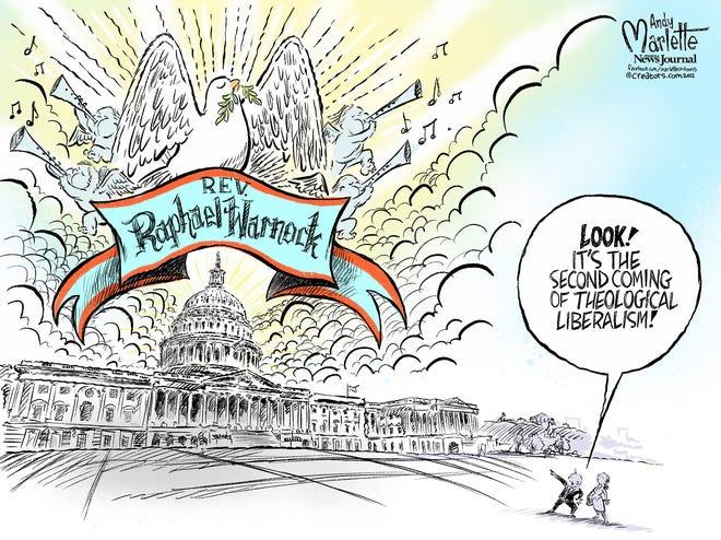 Marlette cartoon: Rev. Raphael Warnock elected to the U.S. Senate.