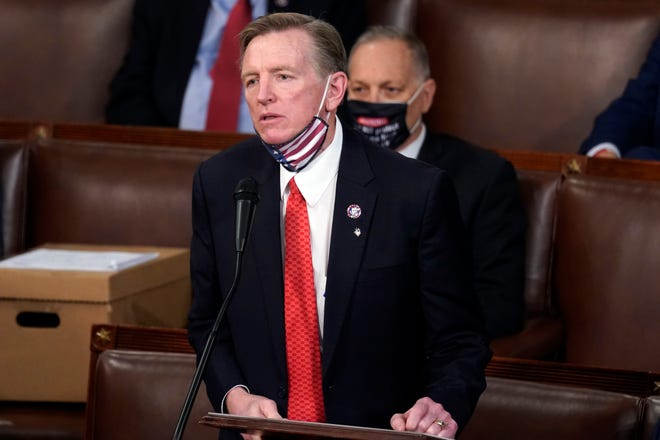 Rep. Paul Gosar, R-Ariz., objects to certifying Arizona's Electoral College votes during a joint session of the House and Senate convenes to count the electoral votes cast in November's election, at the Capitol on Jan. 6, 2021.