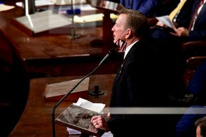 Rep. Paul Gosar, R-Ariz., objects to Arizona's Electoral College certification as a joint session of the House and Senate convenes to confirm the Electoral College votes cast in November's election, at the Capitol in Washington, Jan. 6, 2021.