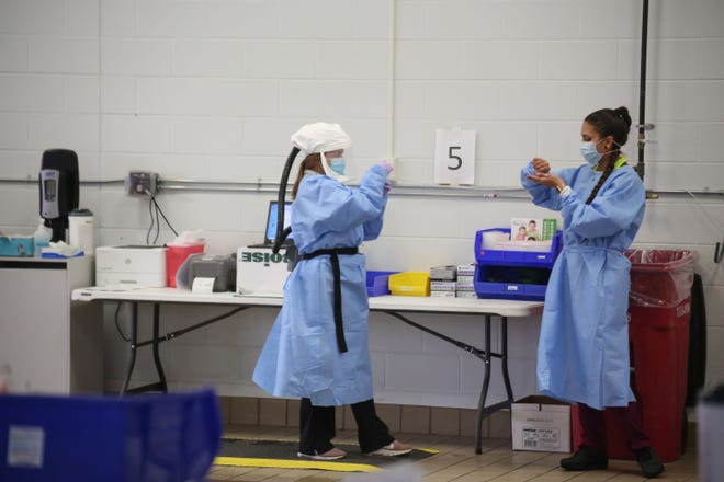 Avera Health workers provide COVID-19 tests on Wednesday, January 6, at a testing site set up in a former car dealership in Sioux Falls.Cars pass through an Avera Health COVID-19 testing site on Wednesday, January 6, at a former car dealership in Sioux Falls.