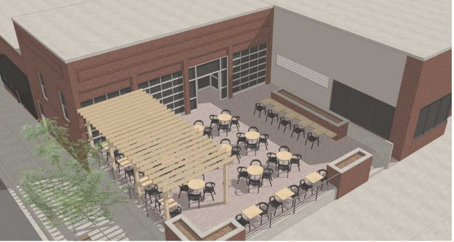 A rendering shows what the plan is for the Glacial Lakes Distillery tasting room patio, which will be able to seat up to 70, on the corner of Main Avenue and 10th Street.