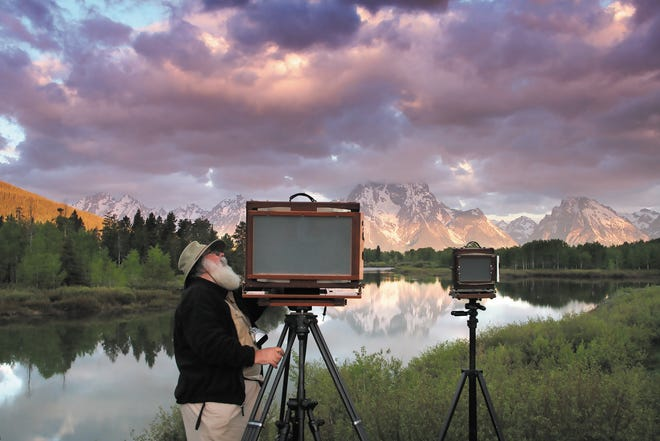 Clyde Butcher photographing Oxbow Bend.