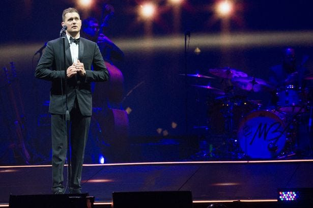 Michael Buble performs at the Frank Erwin Center in August 2014.
