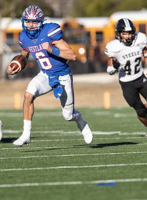Westlake quarterback Cade Klubnik runs for yardage in last week's 34-0 win over Cibolo Steele at Reeves Athletic Complex. Klubnik, a four-star recruit, leads the Chaps into Saturday's Class 6A Division I state semifinal against Galena Park North Shore.