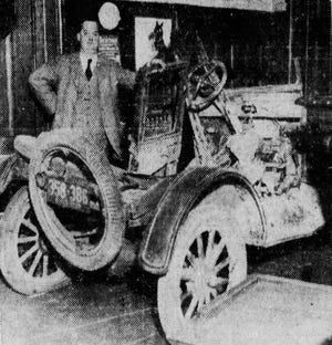 A Ford Model T coupe is rebuilt in Summit County Common Pleas Court for use as an exhibit during a murder trial in January 1931 in Akron.