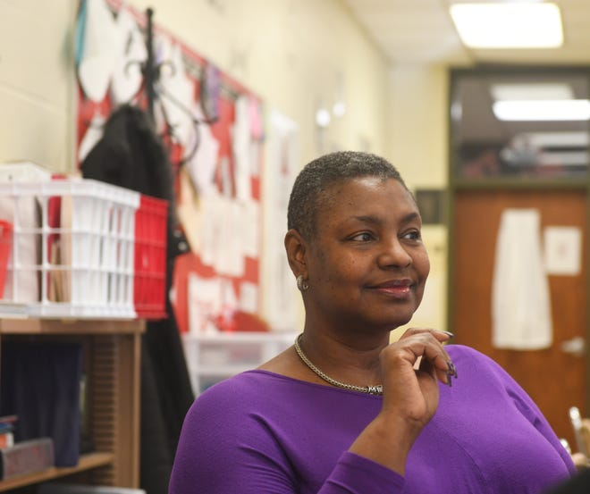 Nikki Marchmon-Boykin teaches the Black Experience class and American government at Kent Roosevelt High School. On Thursday, discussions in both classes centered on the Capitol riots. Marchmon-Boykin is pictured during one of her classes in February 2020.