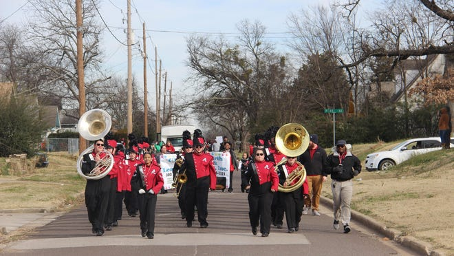 The Ardmore High School Marching Band Performs during the 2020 Martin Luther King Jr. Parade. The annual parade will return this year, however the celebration and presentation that typically follows the parade will be done virtually this year.