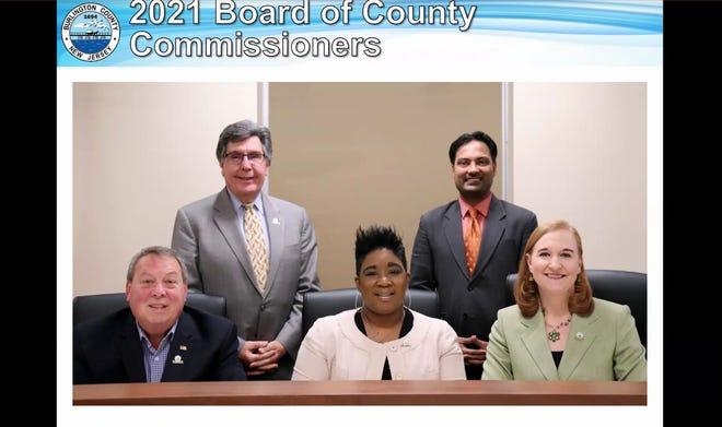The 2021 Burlington County Board of Commissioners — Tom Pullion (front left) Director Felicia Hopson, Linda Hynes, Deputy Director Dan O'Connell (back left) and Balvir Singh.