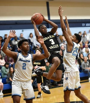 Quaker Valley's Adou Thiero (3) jumps to make a pass against Central Valley last season. Thiero and the Quakers are one of the preseason favorites in Class 4A.