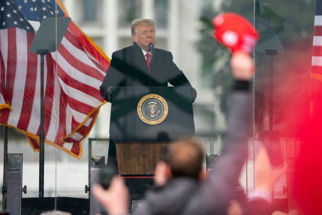 President Donald Trump speaks during a rally Wednesday protesting the electoral college certification of Joe Biden.