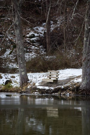 Remnants of the snow from Christmas creates a perfect winter scene at Barnesville Memorial Park.