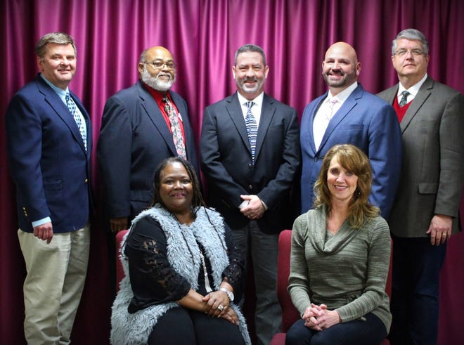 Brownwood ISD School Board of Trustees (back, left to right) Tim Jacobs, Roderick Jones, Sr., Michael Cloy, Codie Smith, Eric Evans (front) Diane Thompson, Dr. Lisa Fowler.