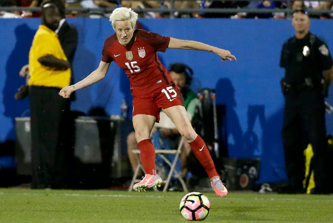 U.S. midfielder Megan Rapinoe, seen here playing against Russia in April 2017, hasn't played since last March, having opted out of her club season with OL Reign of the National Women's Soccer League's Challenge Cup this fall. She was among 27 players invited to training camp this weekend in Orlando.