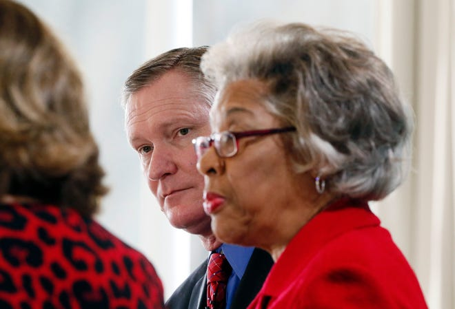 Reps. Steve Stivers and Joyce Beatty, pictured in 2018 at The Boat House at Confluence Park, were not in House chambers when rioters broke into the Capitol building Wednesday.