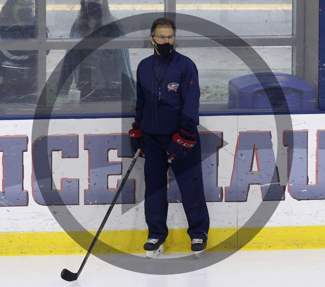 In this file photo Columbus Blue Jackets head coach John Tortorella speaks to the media following the yesterday's scrimmage on the night of Wednesday January 6 2021.