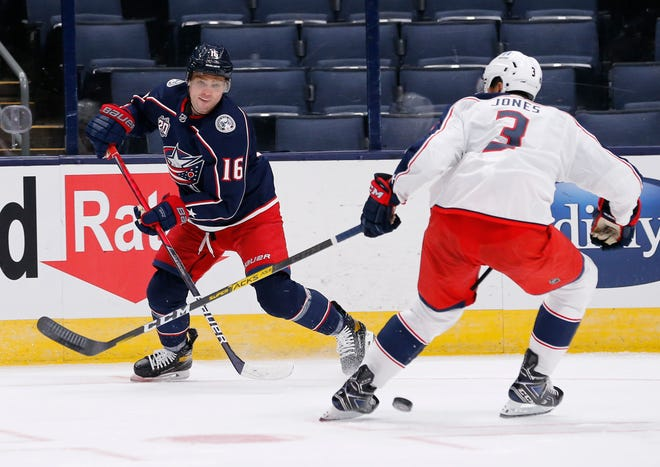 The Blue Jackets want center Max Domi (16), here passing through the legs of defenseman Seth Jones (3) during a training camp scrimmage last week in Nationwide Arena, to think about taking his shot as much as setting up his teammates.
