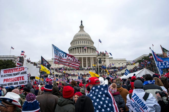Supporters of President Donald Trump rally at the U.S. Capitol on Wednesday.