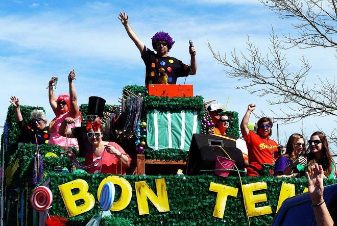 Parades in Lafourche, like this one from the Krewe of Versailles in Larose in 2020, have been canceled for the 2021 Carnival season.