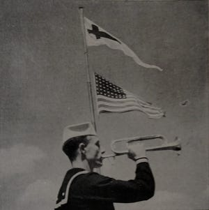 """The U.S. Flag Code provides that """"No other flag or pennant should be placed above or, if on the same level, to the right of the flag of the United States of America, except during church services conducted by naval chaplains at sea, when the church pennant may be flown above the flag during church services for the naval personnel aboard."""""""