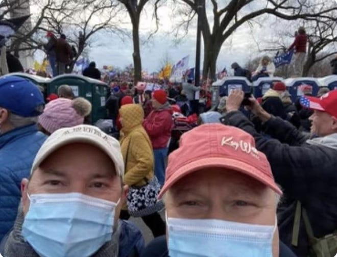 A photo circulating on social media shows Donald Rouse Sr. (right), co-owner of Schriever-based Rouses Markets, and former Rouses human resources director Steve Galtier at the Trump rally Wednesday in Washington.