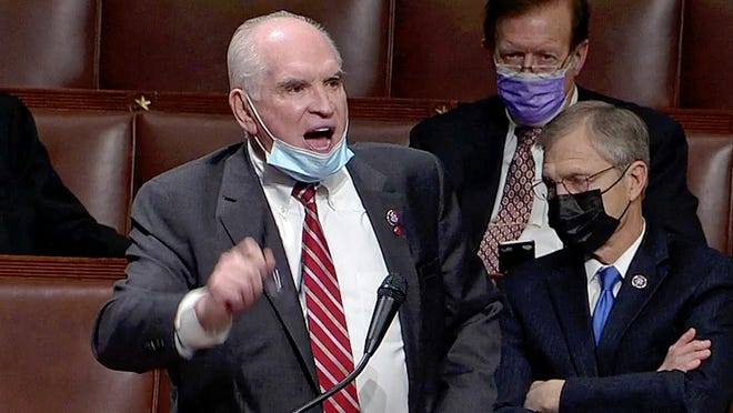 This is a screen grab from video of U.S. Rep. Mike Kelly, of Butler, Pa., R-16th Dist., speaking on the floor of the U.S. House of Representatives on Jan. 7, 2021 in the aftermath of riots and violence at the U.S. Capitol in Washington, D.C. on Jan. 6, 2021 while legislators were in the process of confirming the presidential Electoral College.