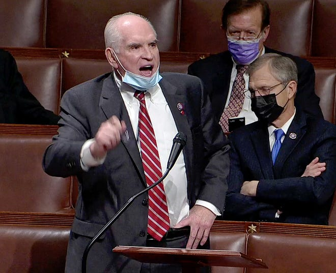 This is a screen grab from U.S. House of Representatives video of U.S. Rep. Mike Kelly, of Butler, Pa., R-16th Dist., speaks on the floor of the House on Jan. 7, 2021 in the aftermath of riots and violence at the U.S. Capitol in Washington, D.C. on Jan. 6, 2021 while legislators were in the process of confirming the presidential Electoral College.