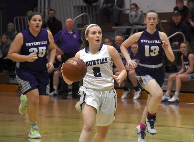 Riley Dunn, a returning Little Falls Mounties basketball player, drives to the basket during a Jan. 18, 2020, home game against Waterville.