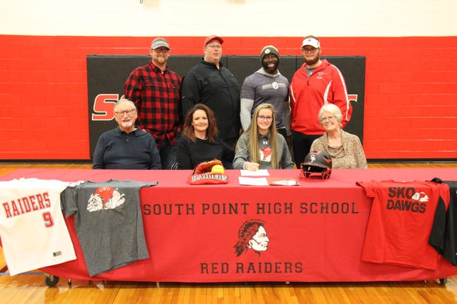 South Point senior Asheton Queen recently signed a National Letter of Intent to play softball at Gardner-Webb University. Seated from the left are: Barry Queen, Asheton's grandfather; Kellie Queen, Asheton's mother; Asheton; and Judy Spicer, Asheton's grandmother.  Standing from the left are: Blake Queen, Asheton's brother; Craig Queen, Asheton's father; Treymane Stephens, her trainer and Grayson Queen, Asheton's brother.