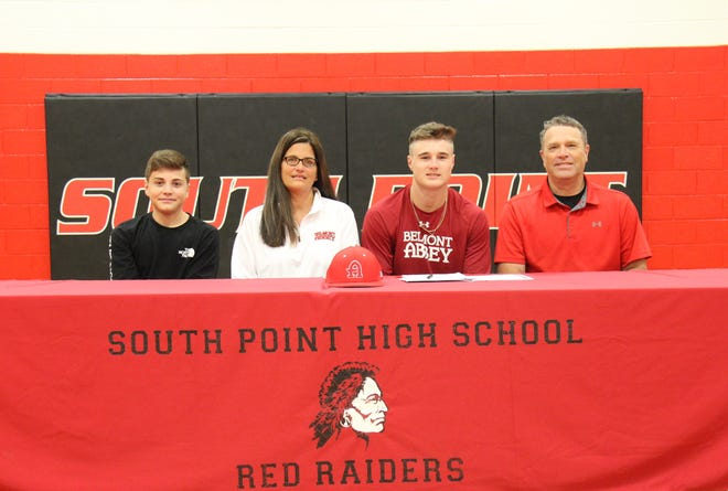 South Point senior Jackson Risk has signed a National Letter of Intent to play baseball at Belmont Abbey College. Seated from the left are his brother, Carson; his mother, Jennifer; Jackson; and his father Jonathan.