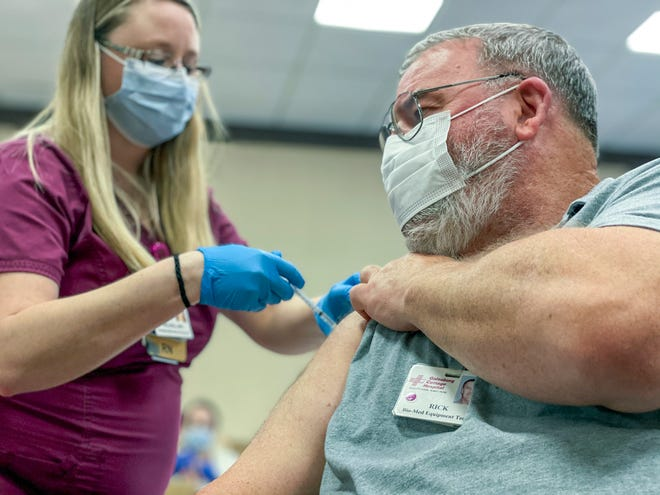 Knox County Healthcare workers, including doctors, nurses, dietary personnel and more, lined up to receive their second doses of the Pfizer-Biontech COVID-19 vaccine Wednesday, three weeks after they received their first doses in mid-December.