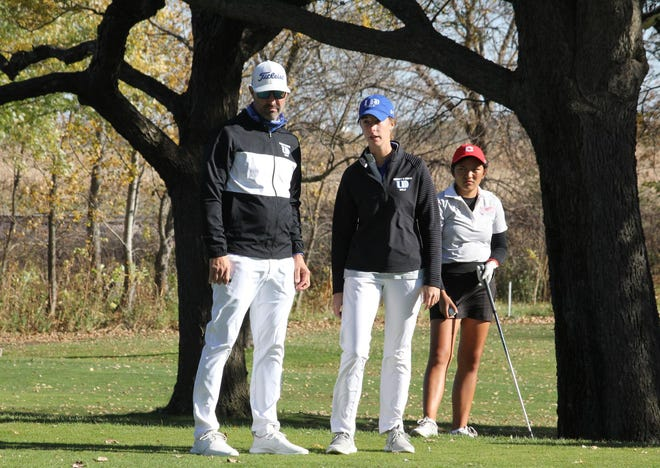 University of Dubuque head golf coach Dustin Bierman and assistant coach Jordan Koehler, a 2015 Galesburg High School grad, talk shop in mid-October 2020, at the American Rivers Conference Championship in Ames, Iowa. [TRAVIS KVACH/University of Dubuque]
