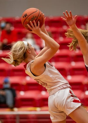 Glen Rose's Zaidey Mills goes up for a lay-up Tuesday night against Brownwood.