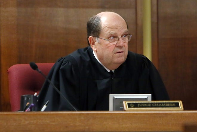 Reno County District Judge Tim Chambers presides over a hearing in his third-floor courtroom at the Reno County Courthouse in this file photo. Chambers is retiring after 20 years on the bench.