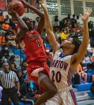 Kathleen's Andrae Shaw Jr. goes up for a shot over Bartow's Amarion Frazier on Wednesday night in Bartow.