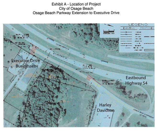The proposal is for the city, MoDOT and the Osage Beach Special Road District to share in the cost of construction of .12 of a mile of the Parkway west from Lazy Days Road to Executive Drive. The board will consider first and second readings of an ordinance to that effect when it meets at 6 p.m.
