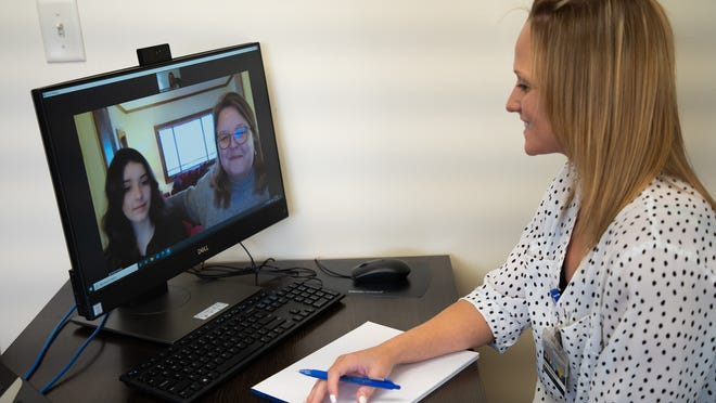 The West Virginia University School of Nursing on the Potomac State College campus partnered with KVC West Virginia during the fall semester to incorporate an innovative experience for nursing students using telehealth services.  Annie Kesner (right), a senior BSN student, gained valuable experience working with foster families throughout the semester.