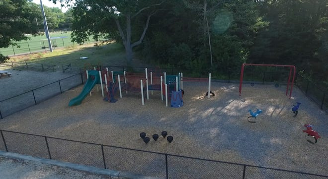 Drone view of the current Joseph & Mary Vendetti Playground in Franklin, located at the Beaver Pond Recreation Area.