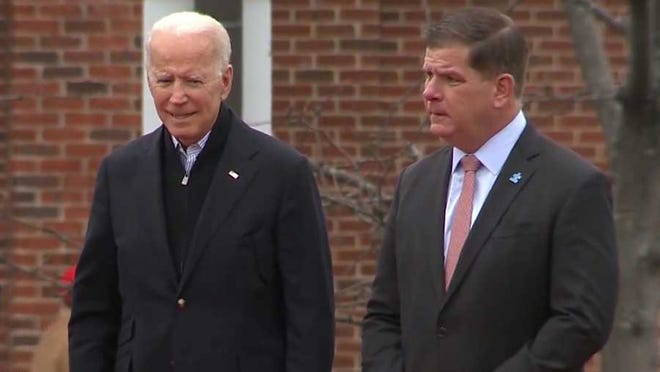 President-elect Joe Biden, left, is expected to tap Boston Mayor Marty Walsh as his Secretary of Labor.