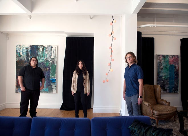 Mike De Paola, from left, Sienna Berritto and Ty Cooperman manage TW Fine Art on Worth Avenue. The gallery will be open though April.