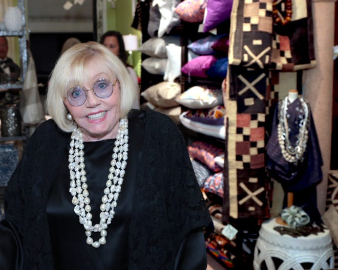 The late Paige Rense Noland, former editor-in-chief at Architectural Digest, attended an art opening at interior designer Jennifer Garrigues' boutique in Palm Beach.