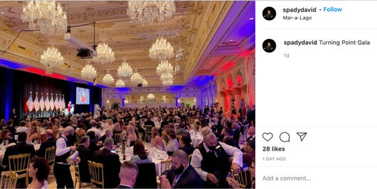 Hundreds of mostly maskless guests pack the ballroom at Mar-a-Lago on Dec. 18, 2020, for Turning Point USA's annual winter gala.