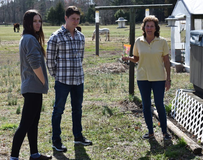 Betty Gibbs scolds her son Brandon Gibbs and his fiancée Julia Trubkina about the hot tub on her farm in Dinwiddie, Va.