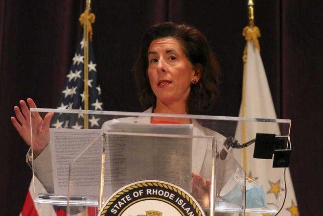 Rhode Island Gov. Gina Raimondo addresses the media. [Providence Journal, file / David DelPoio]