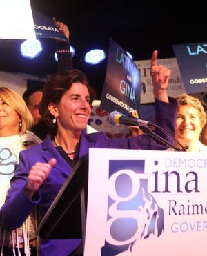 General Treasurer Gina Raimondo celebrates her victory in the Democratic gubernatorial primary on Sept. 9, 2014, at The Met, in Hope Artiste Village, Pawtucket