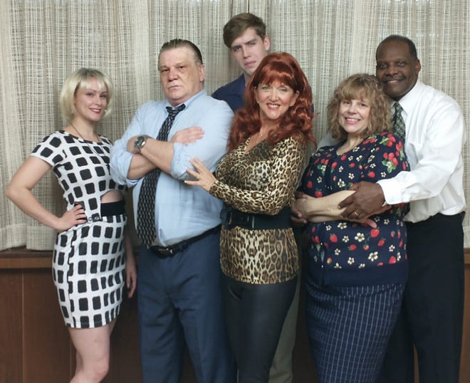 "'MARRIED WITH CHILDREN' LIVE. Starlight Entertainment will present live stage versions of three ""Married With Children"" episodes with a murder-mystery twist on Jan. 23 at La Pizzeria, 3656 Dressler Road NW in Jackson Township. Tickets, $36, include dinner and show. For reservations, call 330-575-7431. Doors open at 6:30 p.m. Pictured here (from left) are cast members Michal Donahue, Mark Adkins, Kathy Lewis , Miranda Garrard,  Rufus Malone and Caven Swift."